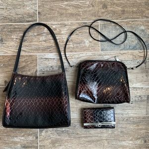 Set of 3 Purse / Crossbody / Wallet , Animal Print